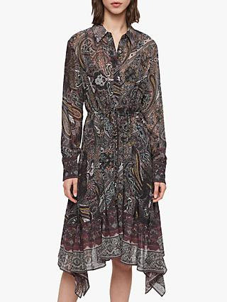 AllSaints Lizzy Scarf Print Dress, Purple