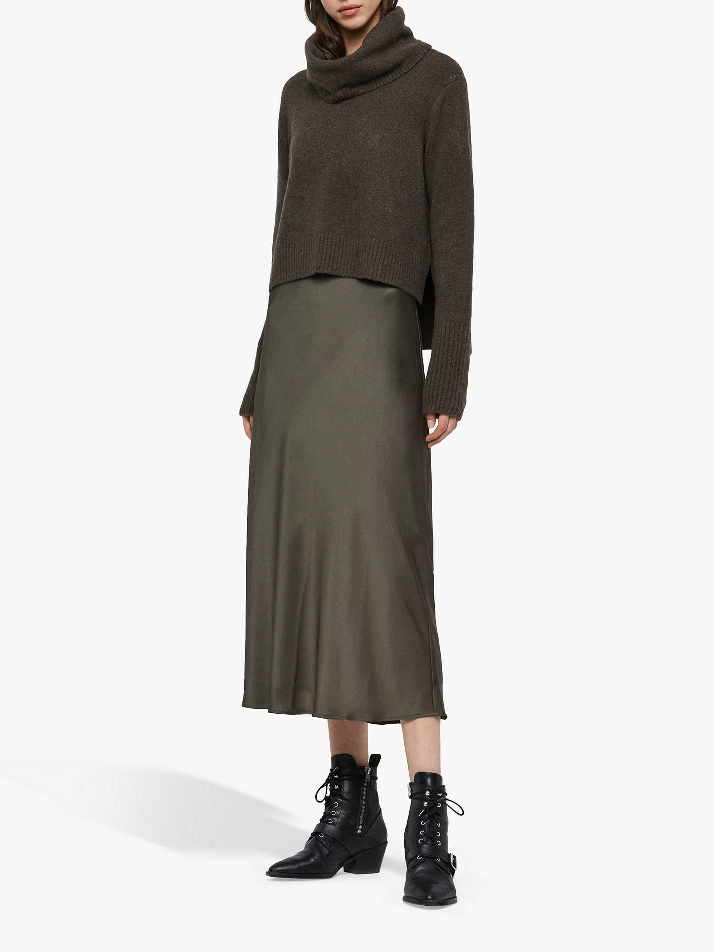 allsaints-tierny-roll-neck-jumper-dress,-military-green by allsaints