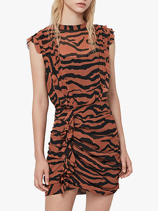 Buy AllSaints Hali Zephyr Zebra Print Ruched Mini Dress, Toffee/Black, 6 Online at johnlewis.com