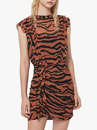 AllSaints Hali Zephyr Zebra Print Ruched Mini Dress, Toffee/Black