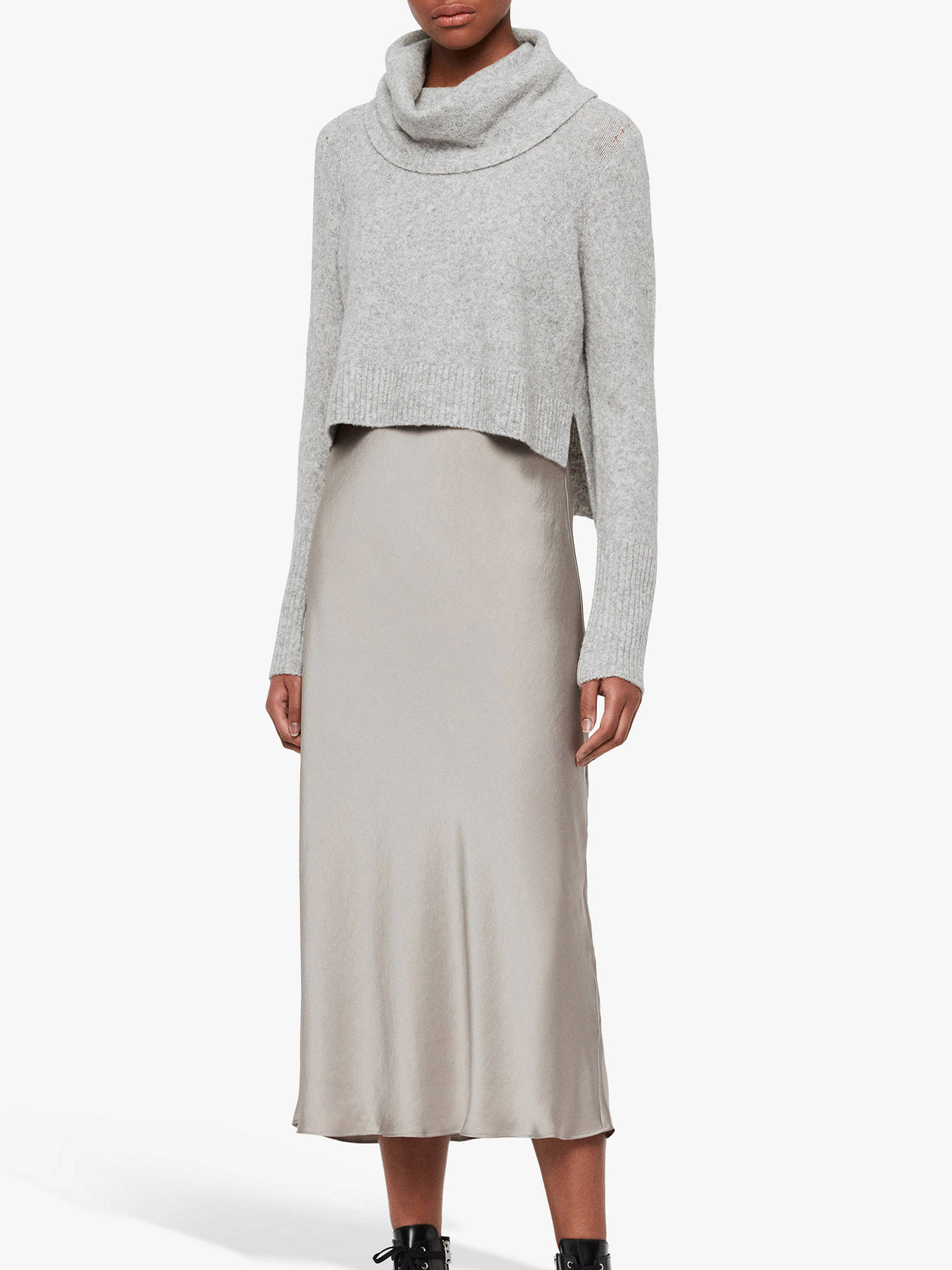 All Saints Tierny Roll Neck Jumper Dress, Grey Marl/Pearl by Allsaints