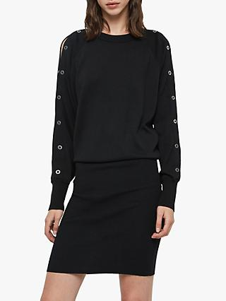 AllSaints Suzie Eyelet Detail Dress, Black