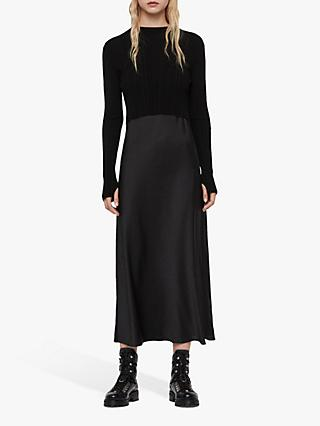 AllSaints Karla Jumper Bias Cut Satin Slip Dress, Black