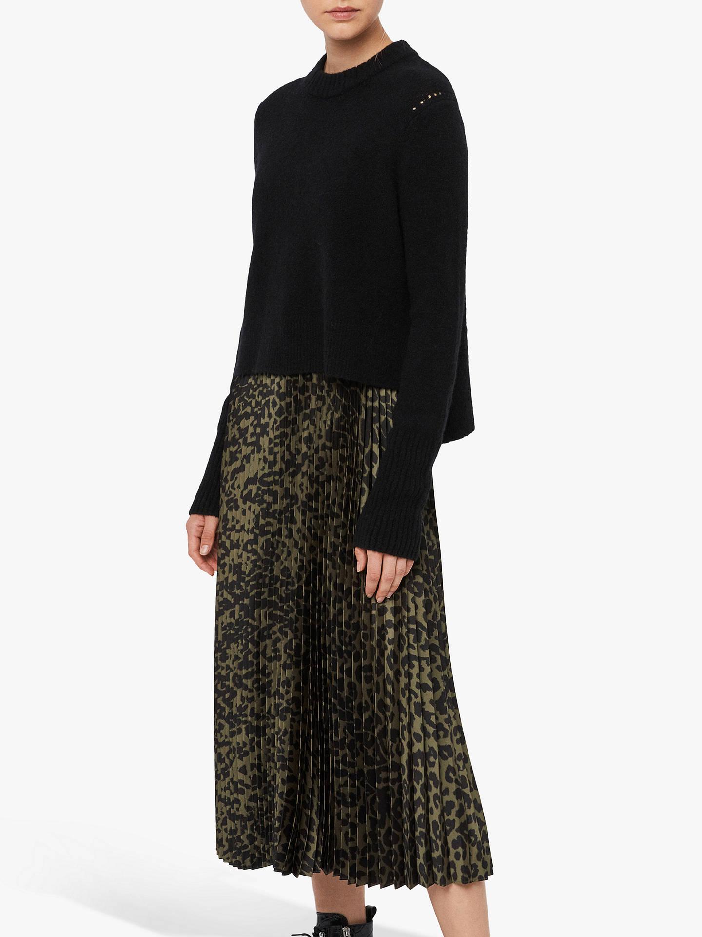 All Saints Leowa Leopard Print Pleated Jumper Dress, Black/Khaki by Allsaints