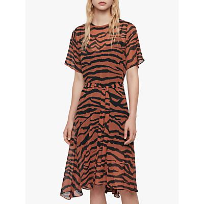AllSaints Enki Zephyr Zebra Print Asymmetric Hem Dress, Toffee/Black