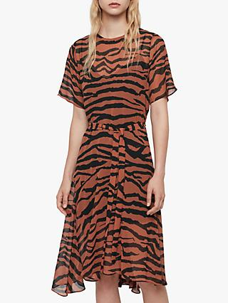 AllSaints Enki Zephyr Zebra Print Asymmetric Hem Dress, Toffee/Black