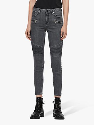 AllSaints Grace Cropped Biker Jeans, Washed Grey