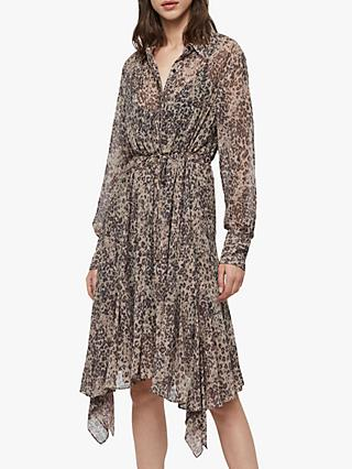 AllSaints Lizzy Animal Print Shirt Midi Dress, Camel Brown