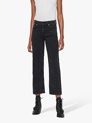 AllSaints Ava Leopard Straight High Rise Jeans, Washed Black