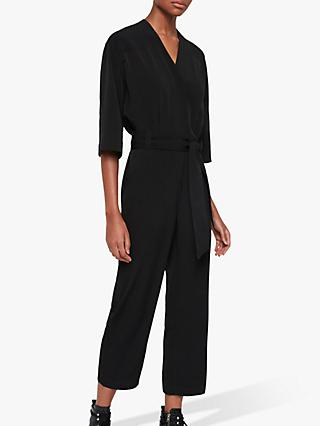 AllSaints Hayley V-Neck Belted Jumpsuit, Black