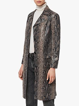 AllSaints Oba Leather Mac Coat, Snake Grey