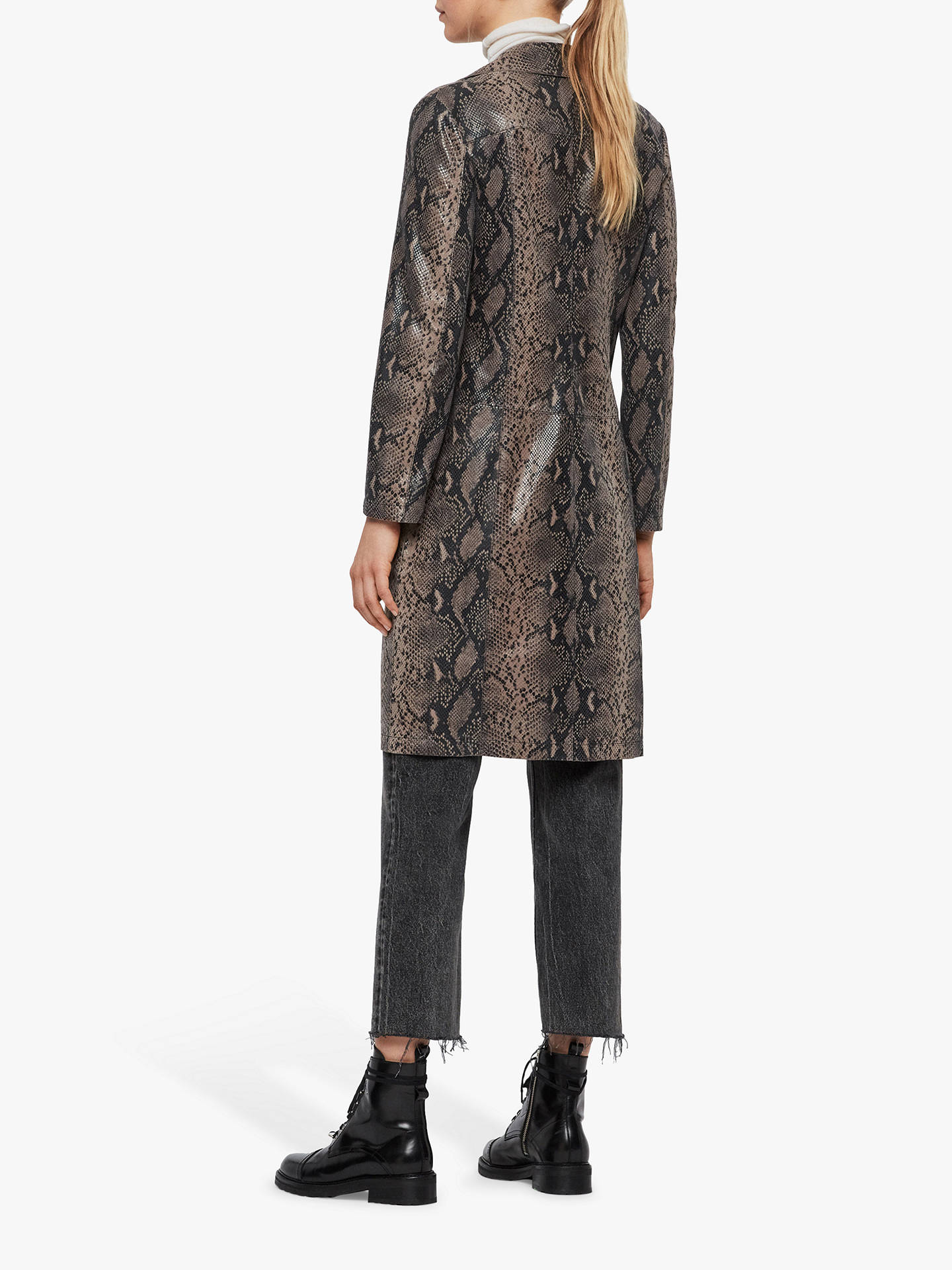 Buy AllSaints Oba Leather Mac Coat, Snake Grey, 8 Online at johnlewis.com