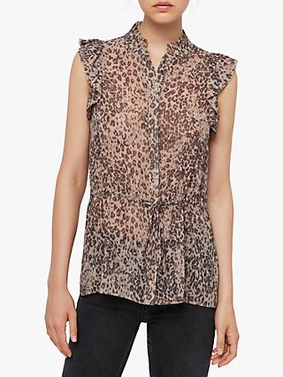 AllSaints Laney Patch Shirt, Camel/Charcoal