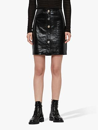 AllSaints Bela Leather Croc Embossed Skirt, Black