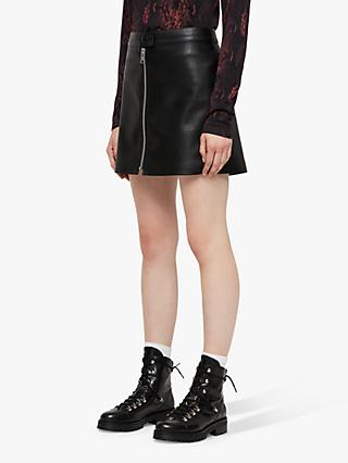 AllSaints Lena Faux Leather Skirt, Black