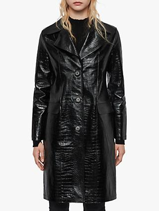 AllSaints Ali Leather Mac Coat, Black