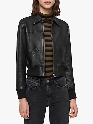 AllSaints Pascao Leather Cropped Bomber, Black