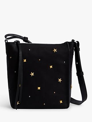 AllSaints Mazzy Leather Stud Star Crossbody Bag, Black