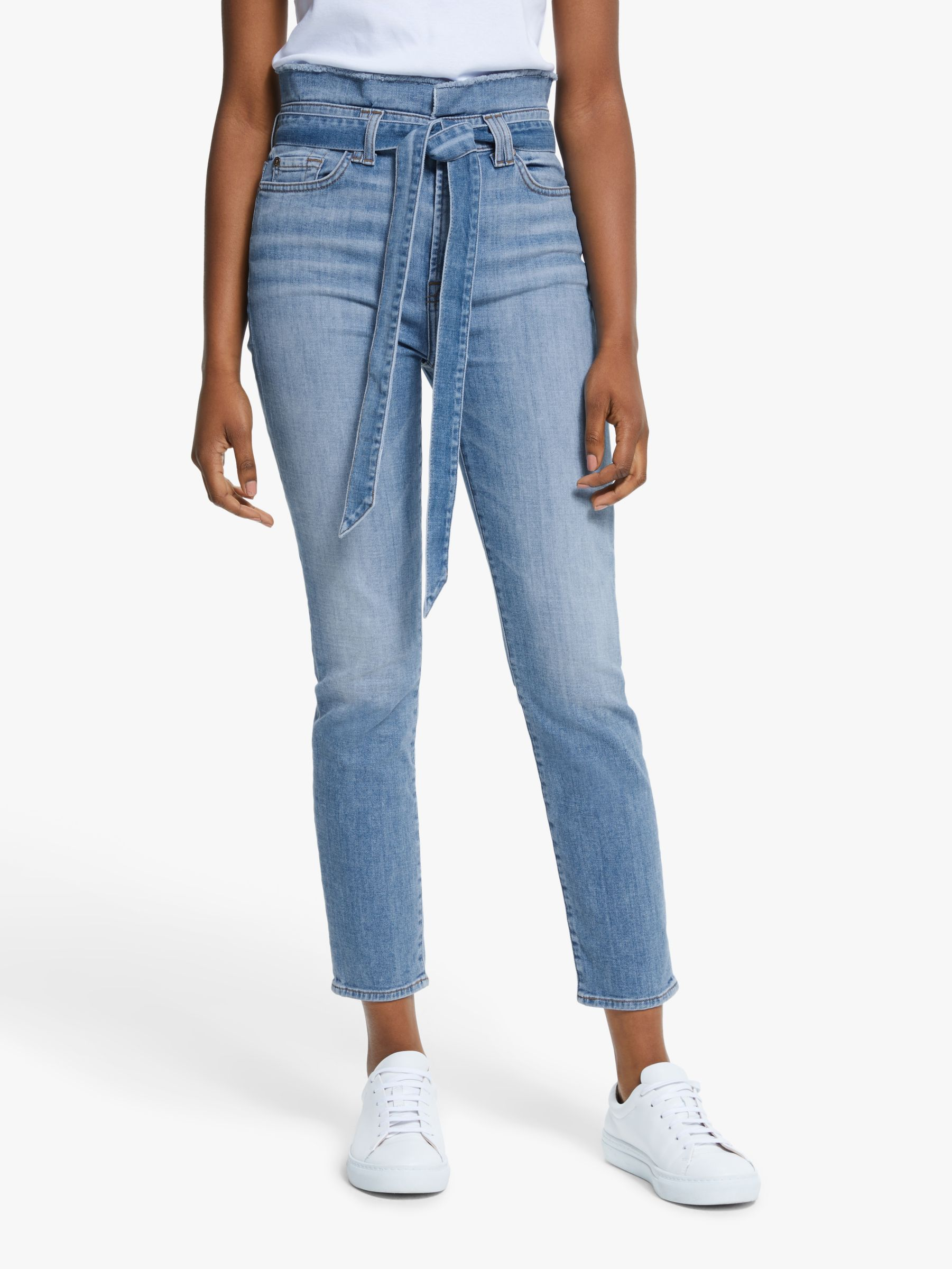 7 For All Mankind 7 For All Mankind Roxanne Slim Illusion Cropped Paperbag Jeans, Bright Light Blue