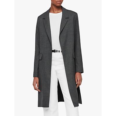 Image of AllSaints Aleida Check Duster Coat, Grey/Black