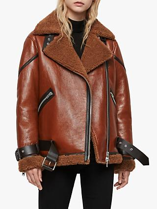 AllSaints Hawley Oversized Shearling Jacket, Rust Brown