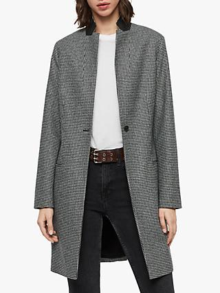 AllSaints Leni Wool Puppytooth Coat, Monochrome