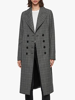 AllSaints Blair Check Coat, Black