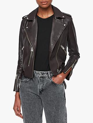 AllSaints Balfern Leather Biker Jacket, Deep Berry
