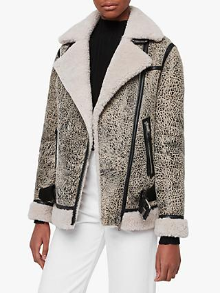 AllSaints Rei Shearling Coat, Aries White/Black