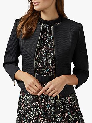 Ted Baker Laj Curved Hem Textured Cropped Jacket, Black