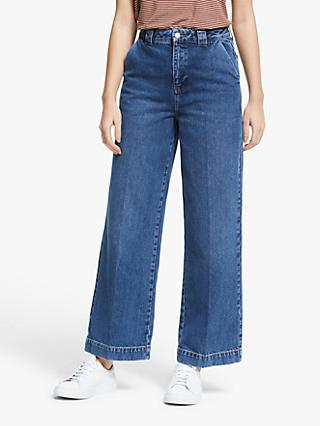 AWARE BY VERO MODA Kathy Tailored Wide Leg Jeans, Medium Blue Denim