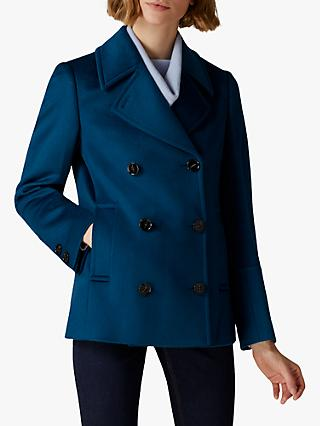 Jaeger Double Breasted Horn Buttoned Wool Pea Coat