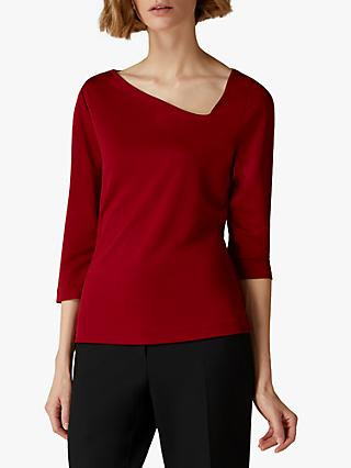 Jaeger Asymmetric Neck Top, Red
