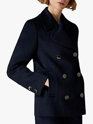 Jaeger Double Breasted Metal Buttoned Wool Pea Coat, Navy