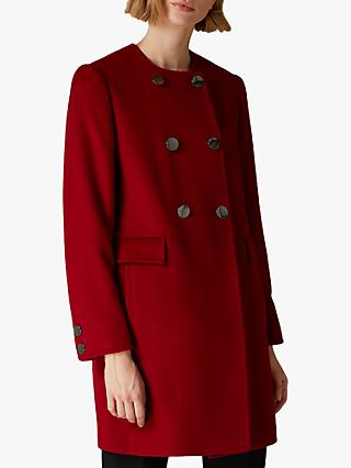 Jaeger Wool Button Detail Collarless Coat