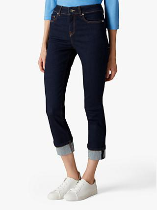 Jaeger High Rise Turn-Up Jeans, Indigo