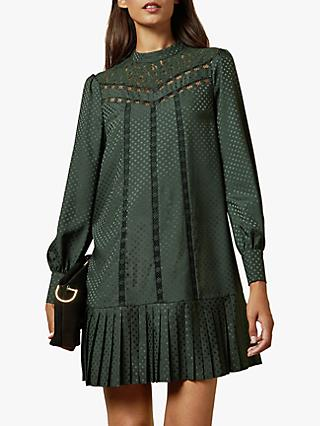 Ted Baker Chllo Lace Polka Dot Detail Long Sleeve Dress