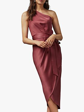 Ted Baker Gabie One Shoulder Drape Midi Dress, Pink