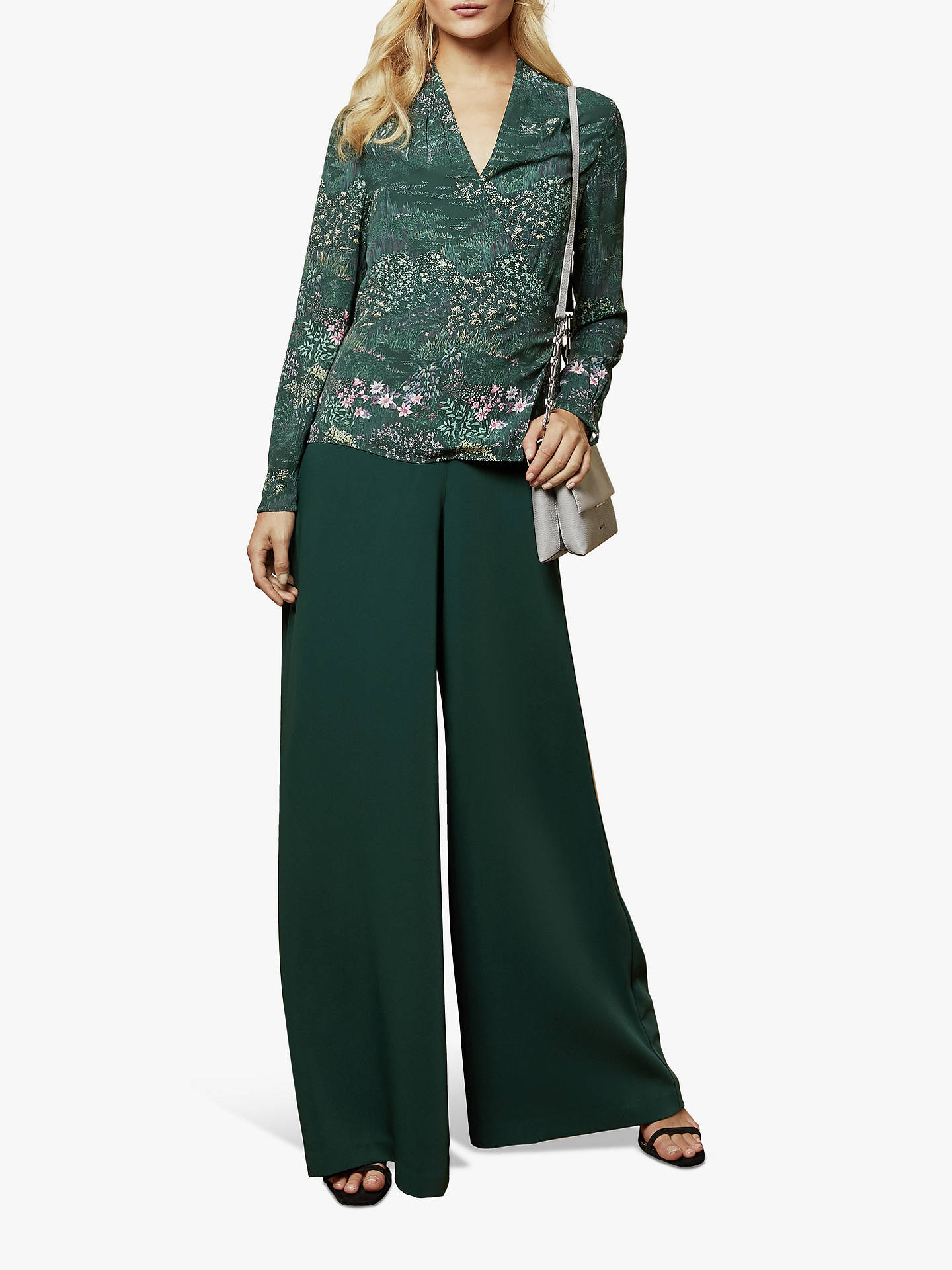 Buy Ted Baker Thessie Diamond Pintuck Floral Wrap Blouse, Dark Green, S Online at johnlewis.com