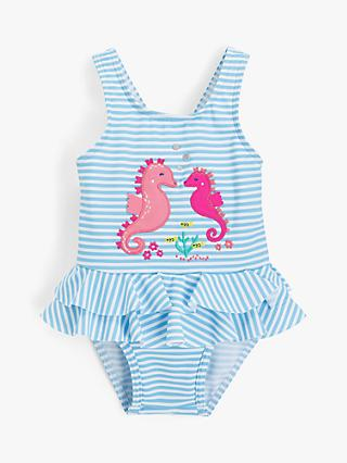 John Lewis & Partners Baby Stripe Seahorse Print Swimsuit, Blue