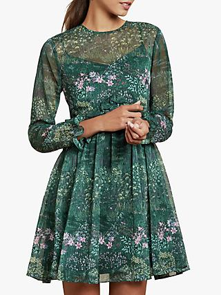 Ted Baker Sorella Nature Long Sleeve Midi Dress, Dark Green