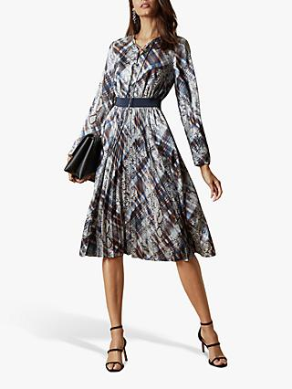 Ted Baker Lilis Quarts Print Midi Dress, Natural Ivory