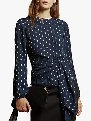 Ted Baker Naiomy Flecked Wrap Top, Dark Blue