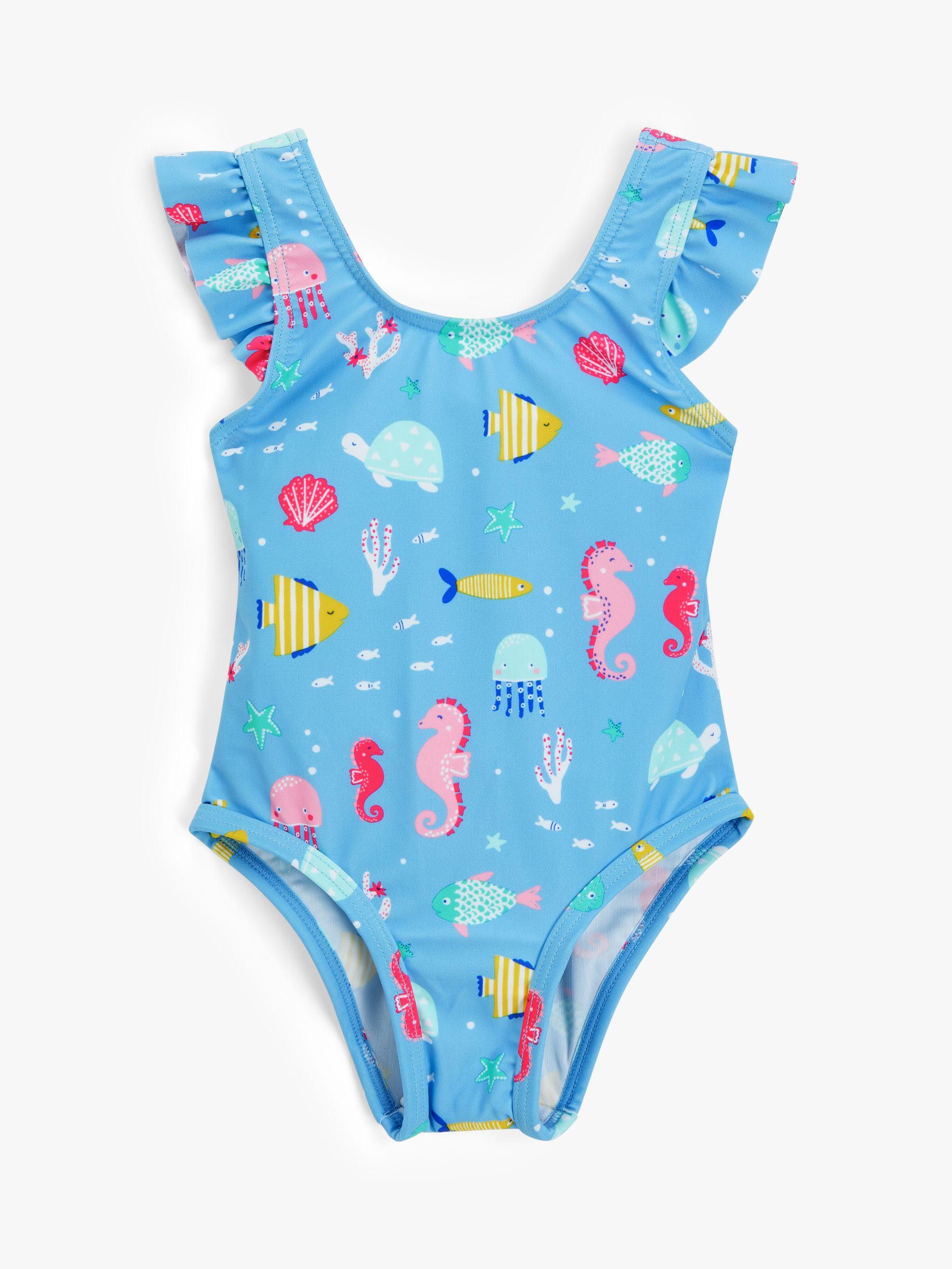 John Lewis John Lewis & Partners Baby Fish Print Swimsuit, Blue