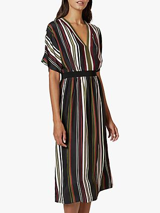 Ted Baker Safiiya Short Sleeve Striped Midi Dress, Black
