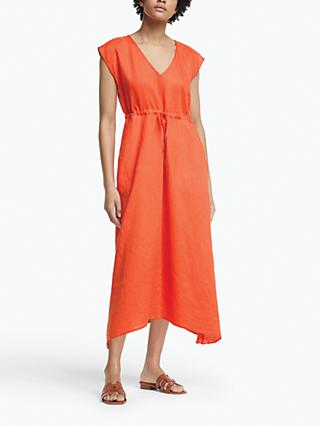 John Lewis & Partners Floral Handkerchief Hem Linen Dress, Orange