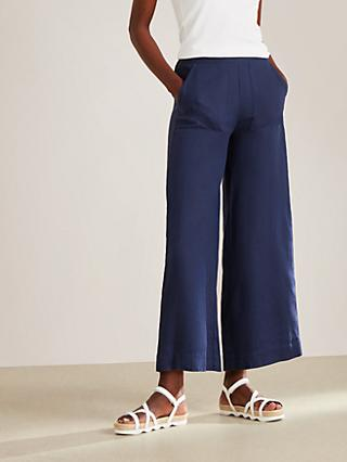 John Lewis & Partners Crop Linen Trousers