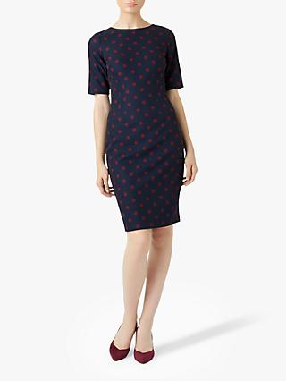 Hobbs Astraea Spot Dress, Navy/Burgundy