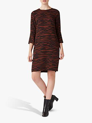 Hobbs Domina Zebra Dress, Tobacco/Black
