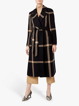 Hobbs Florina Check Coat, Black/Camel